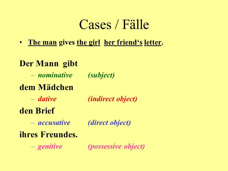 Cases / Fälle Der Mann gibt dem Mädchen den Brief ihres Freundes.