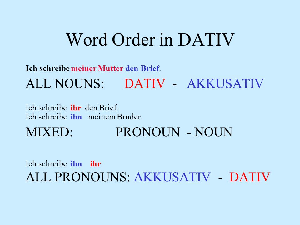 Word Order in DATIV ALL NOUNS: DATIV - AKKUSATIV MIXED: PRONOUN - NOUN