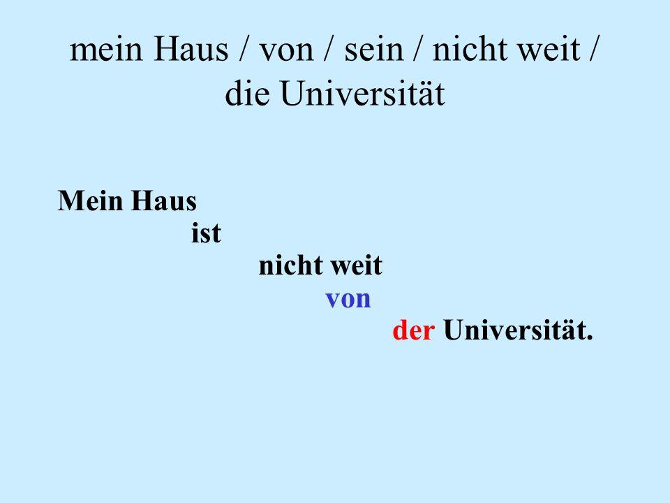 mein Haus / von / sein / nicht weit / die Universität