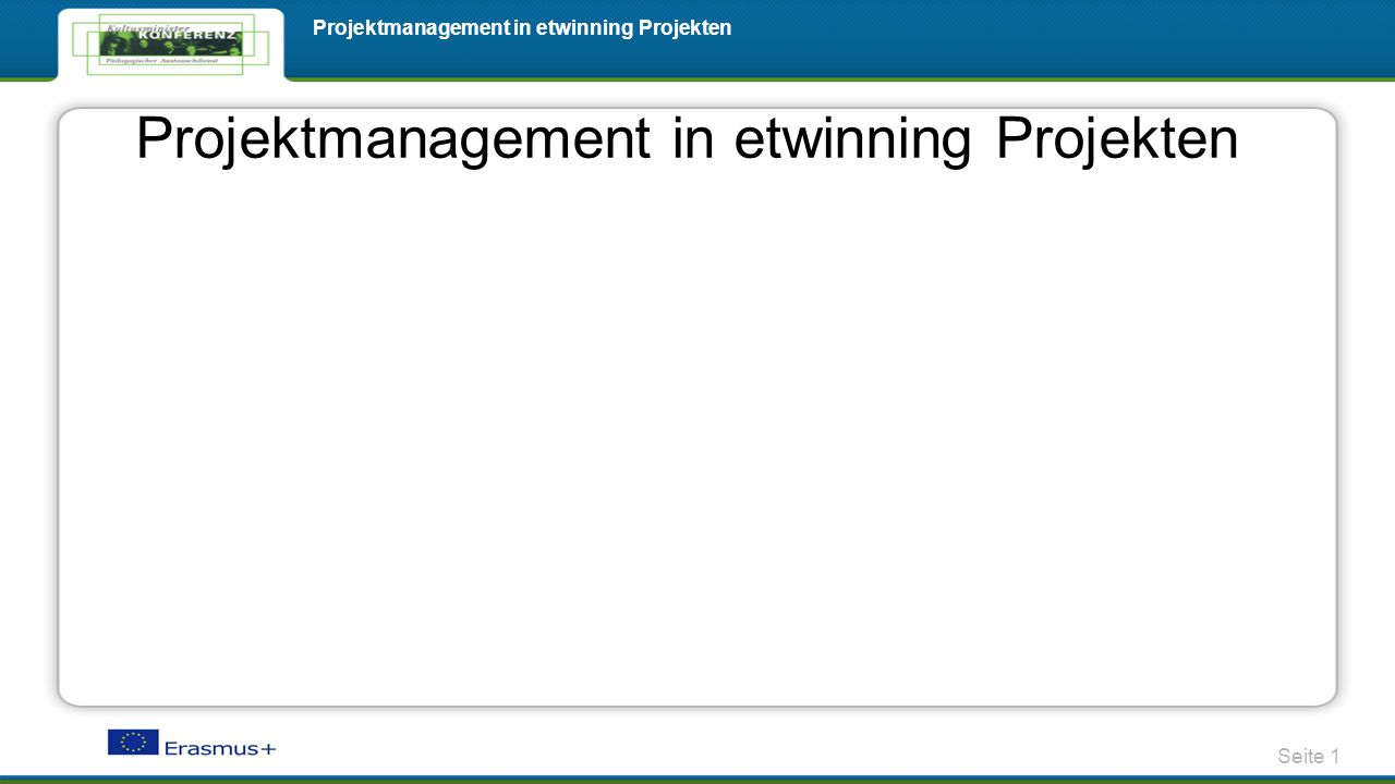 Projektmanagement in etwinning Projekten