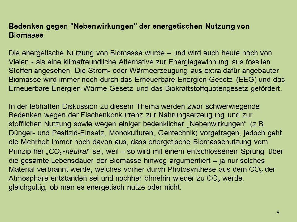 Bedenken gegen Nebenwirkungen der energetischen Nutzung von Biomasse