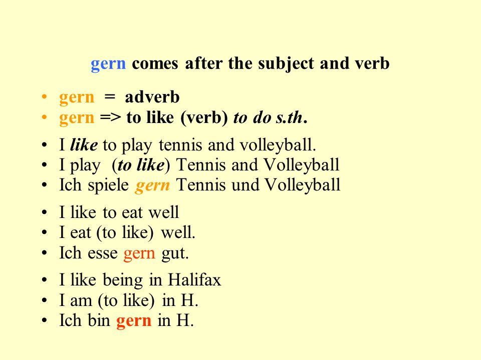 gern comes after the subject and verb