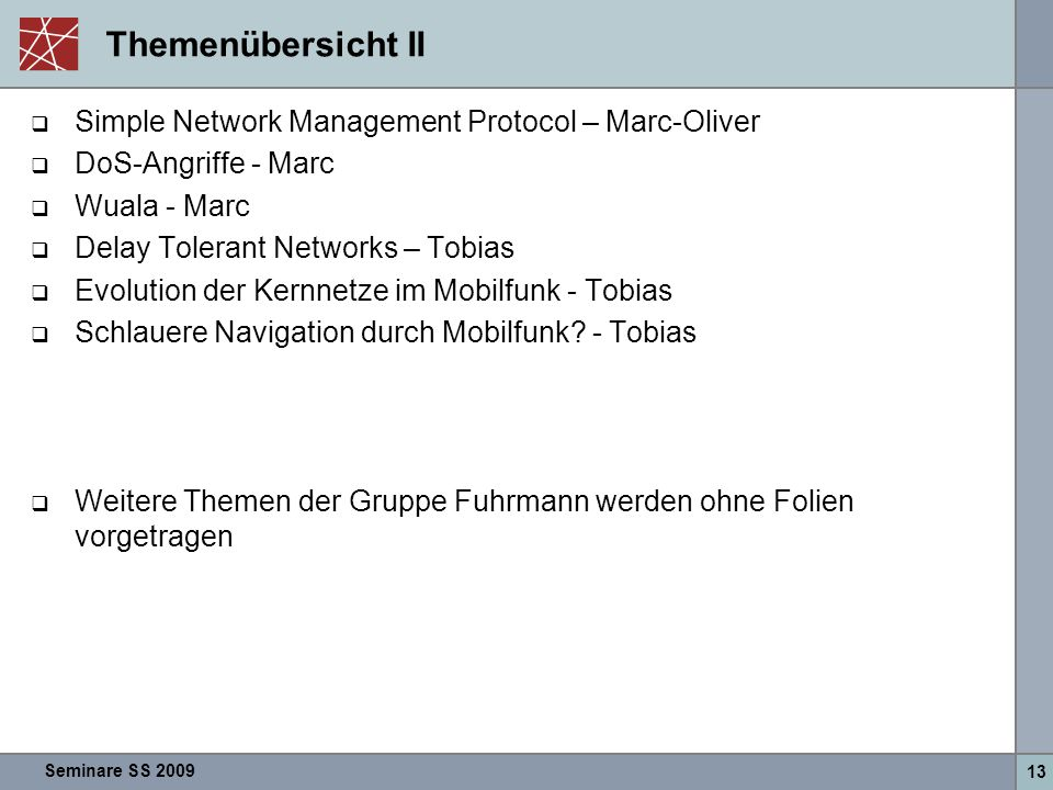 Themenübersicht II Simple Network Management Protocol – Marc-Oliver