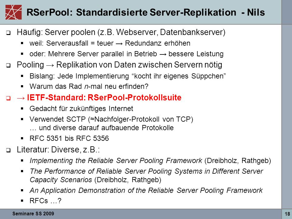 RSerPool: Standardisierte Server-Replikation - Nils