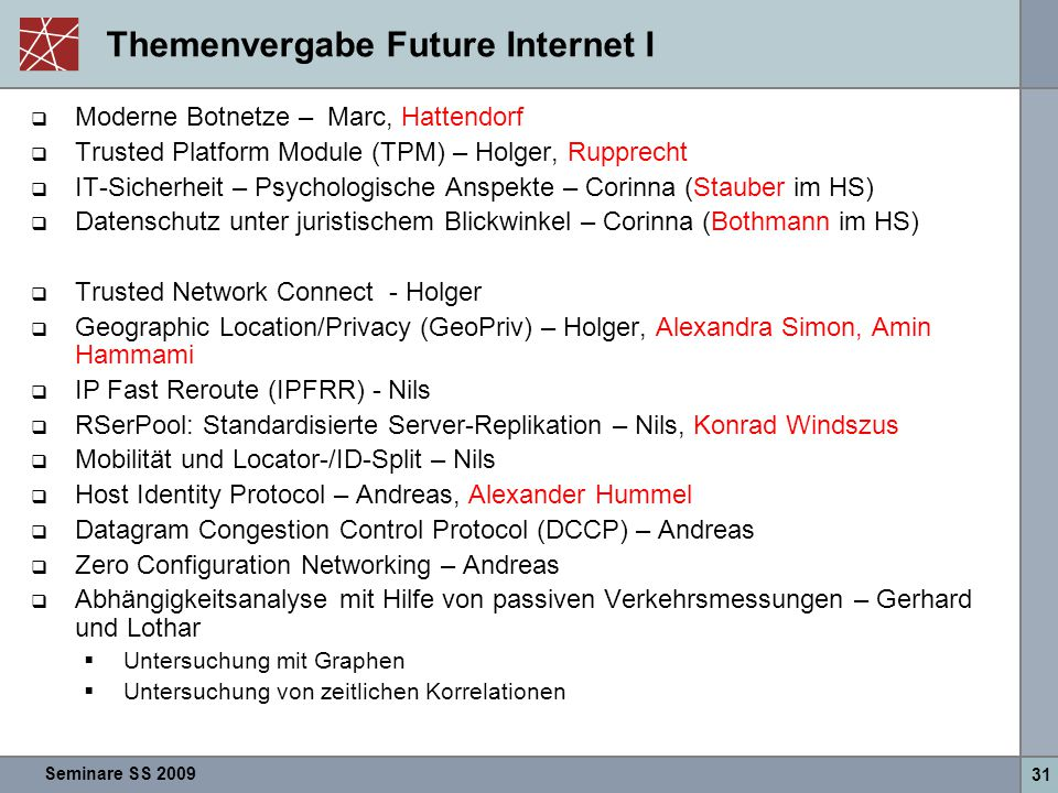 Themenvergabe Future Internet I