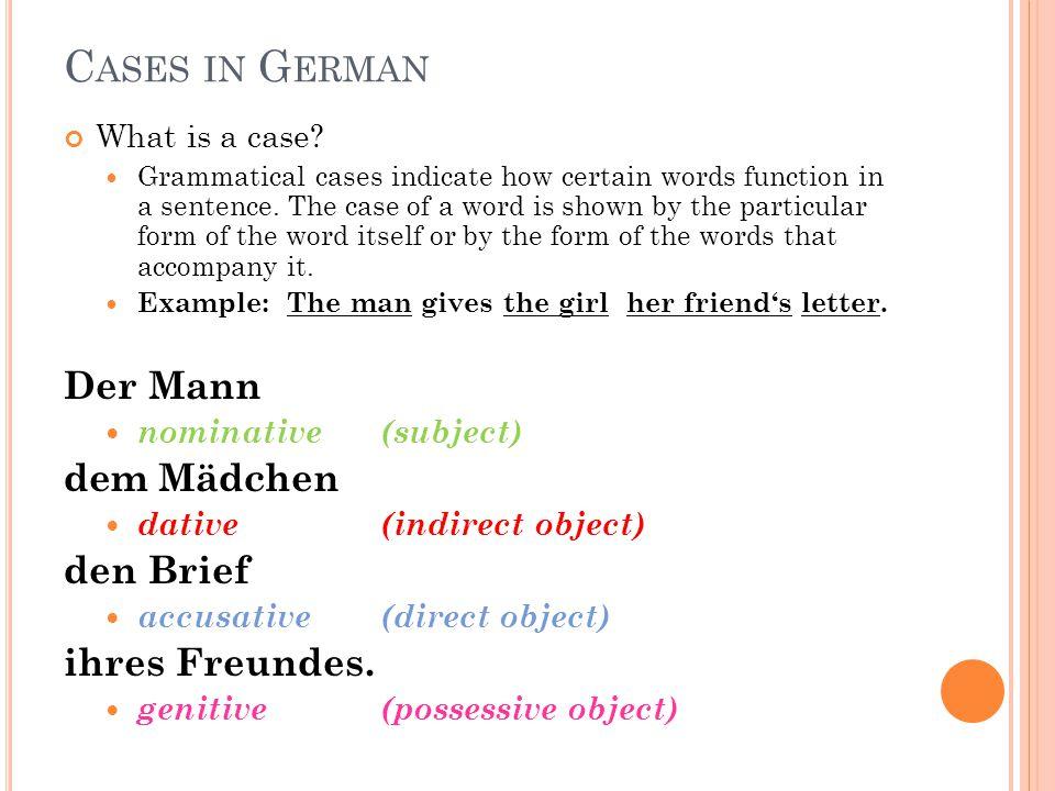 Cases in German Der Mann dem Mädchen den Brief ihres Freundes.