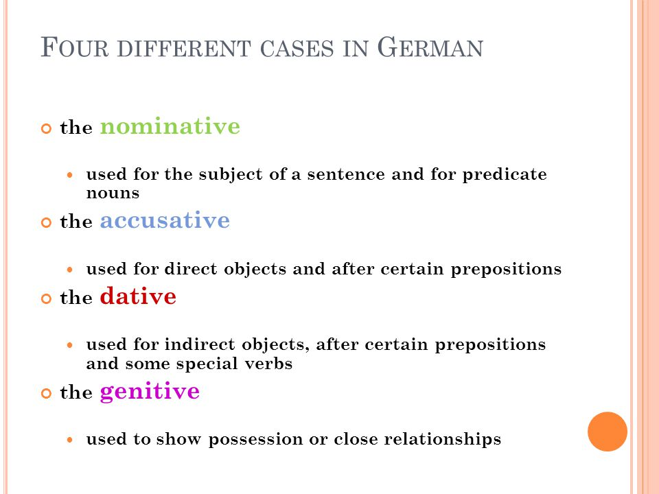 Four different cases in German