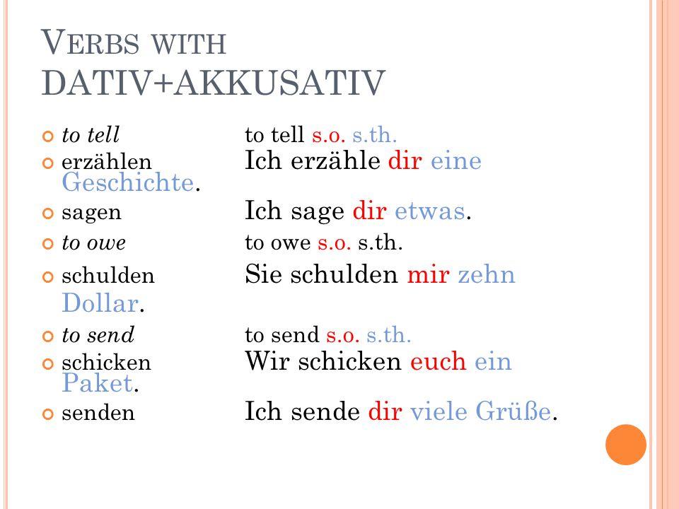 Verbs with DATIV+AKKUSATIV