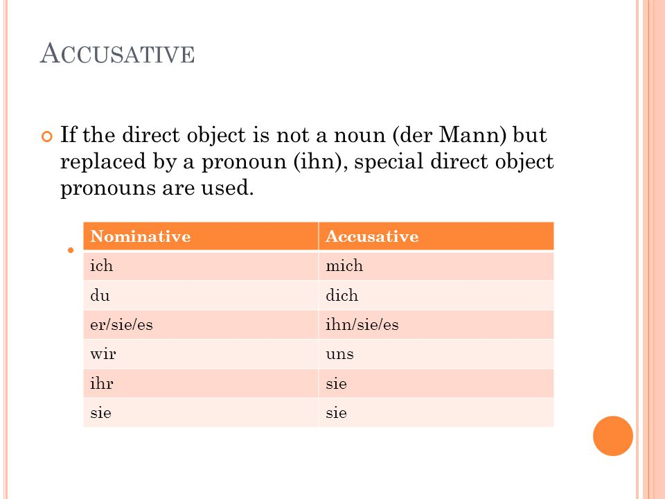 Accusative If the direct object is not a noun (der Mann) but replaced by a pronoun (ihn), special direct object pronouns are used.