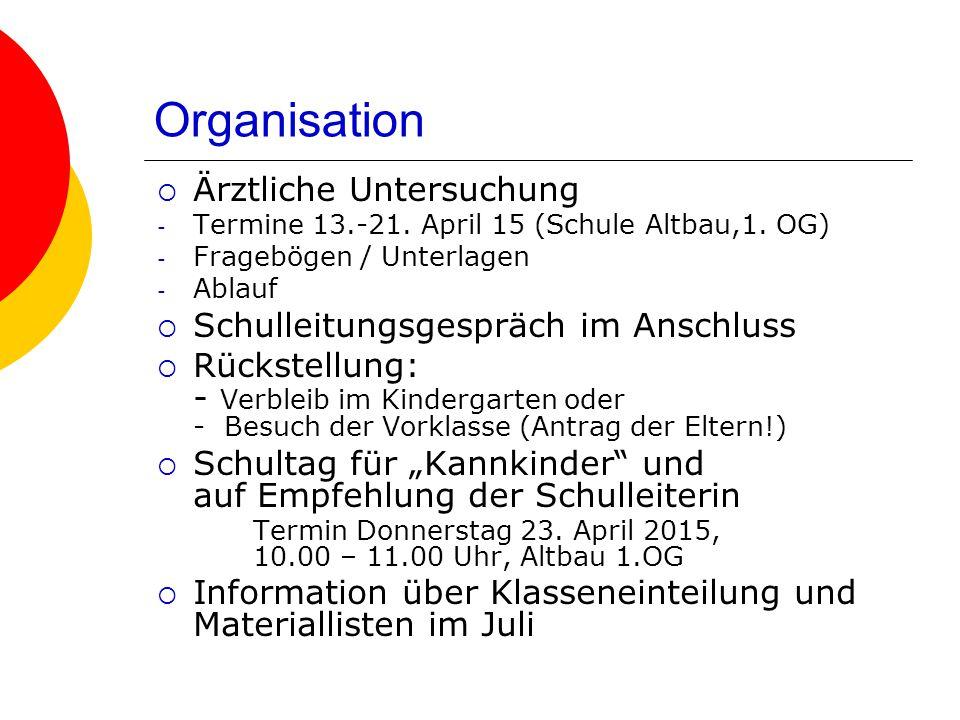 Organisation Ärztliche Untersuchung Schulleitungsgespräch im Anschluss
