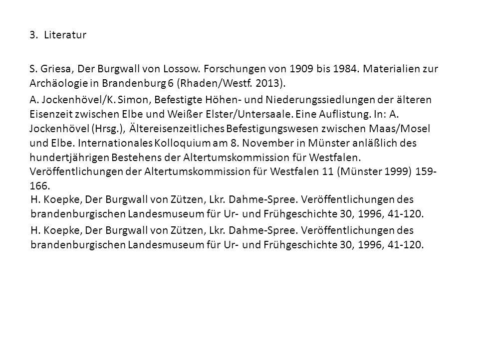 3. Literatur S. Griesa, Der Burgwall von Lossow. Forschungen von 1909 bis 1984. Materialien zur Archäologie in Brandenburg 6 (Rhaden/Westf. 2013).