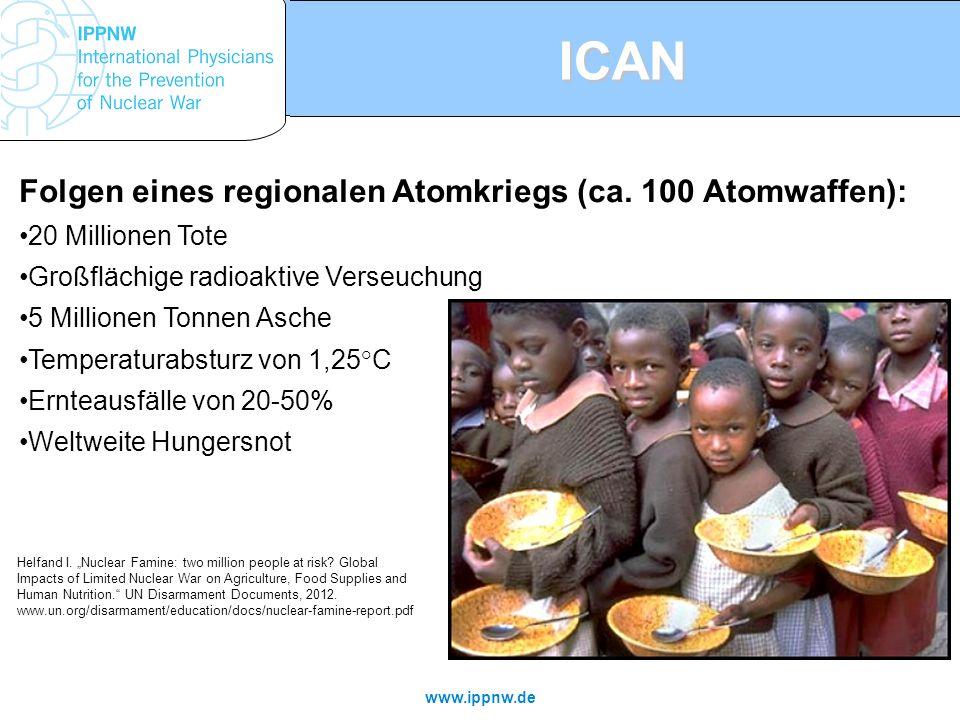 ICAN Folgen eines regionalen Atomkriegs (ca. 100 Atomwaffen):