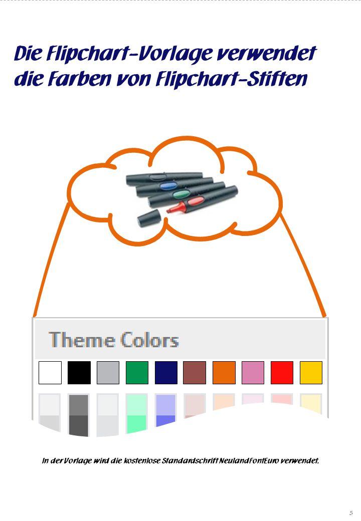 Die Flipchart-Vorlage verwendet die Farben von Flipchart-Stiften