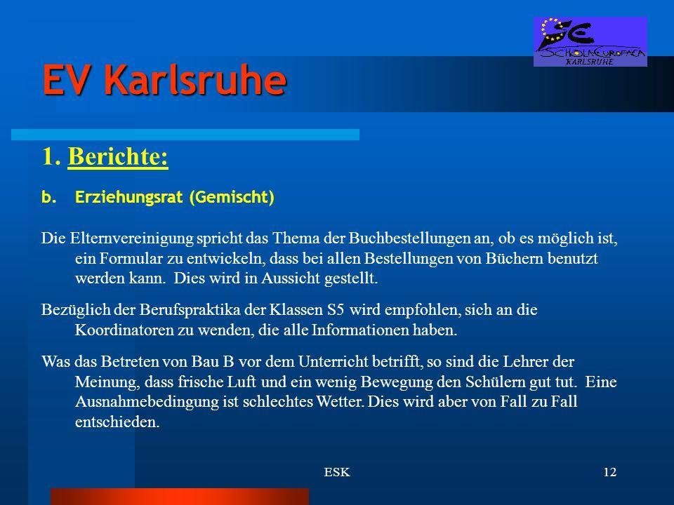 EV Karlsruhe 1. Berichte: Erziehungsrat (Gemischt)
