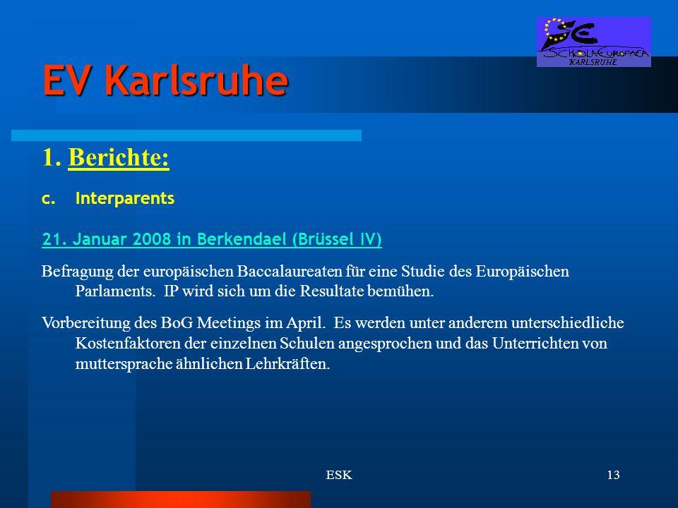 EV Karlsruhe 1. Berichte: Interparents