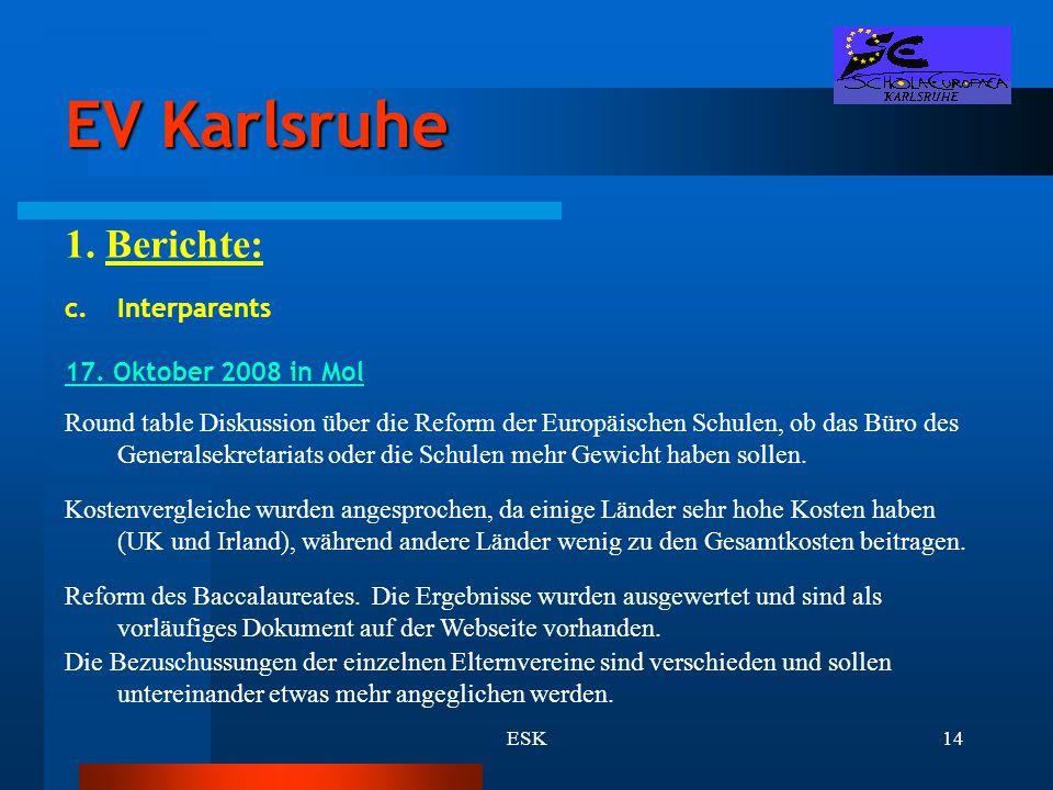 EV Karlsruhe 1. Berichte: Interparents 17. Oktober 2008 in Mol