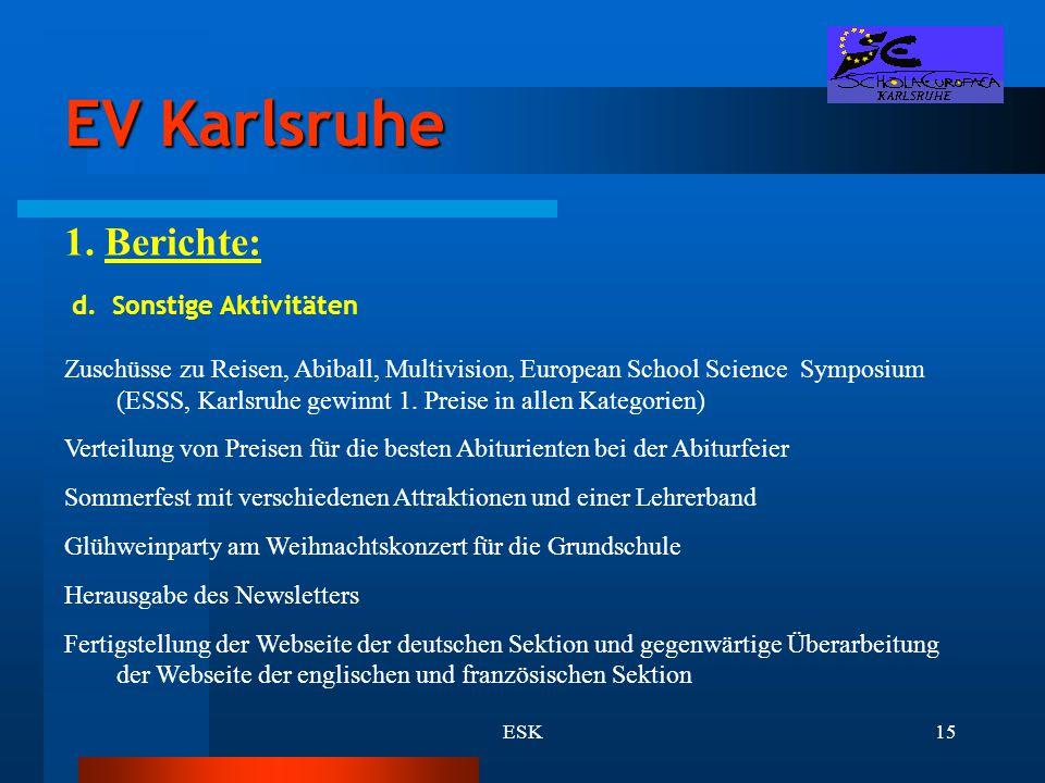 EV Karlsruhe 1. Berichte: d. Sonstige Aktivitäten
