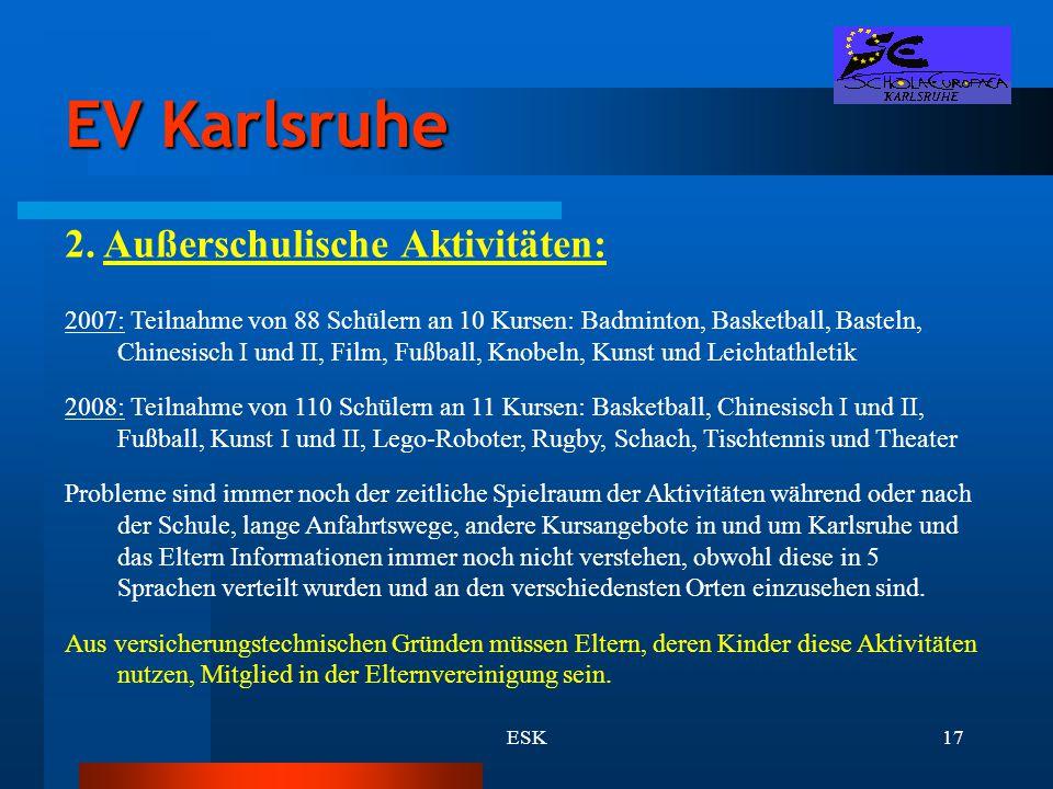 EV Karlsruhe 2. Außerschulische Aktivitäten: