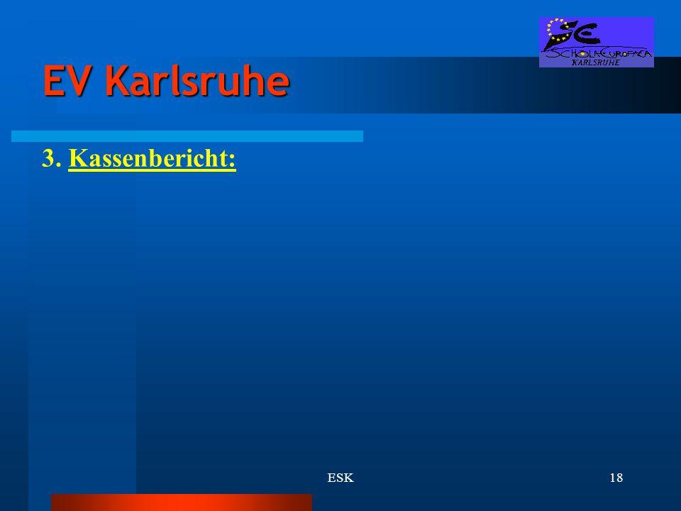 EV Karlsruhe 3. Kassenbericht: ESK