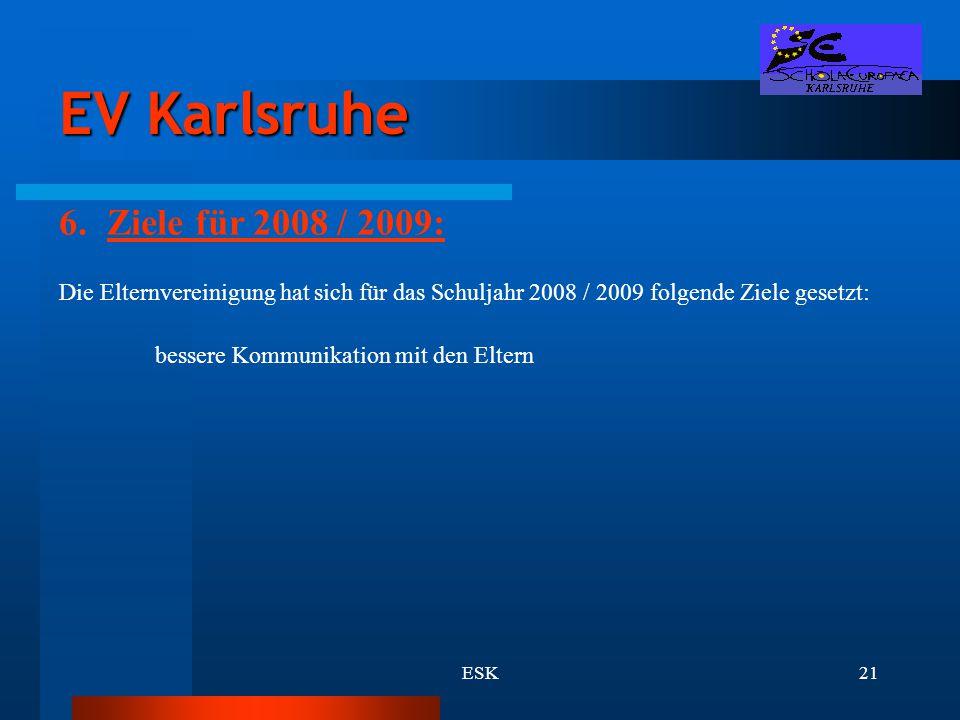 EV Karlsruhe Ziele für 2008 / 2009: