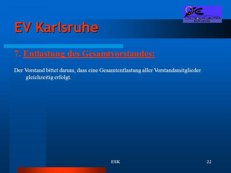 EV Karlsruhe 7. Entlastung des Gesamtvorstandes: