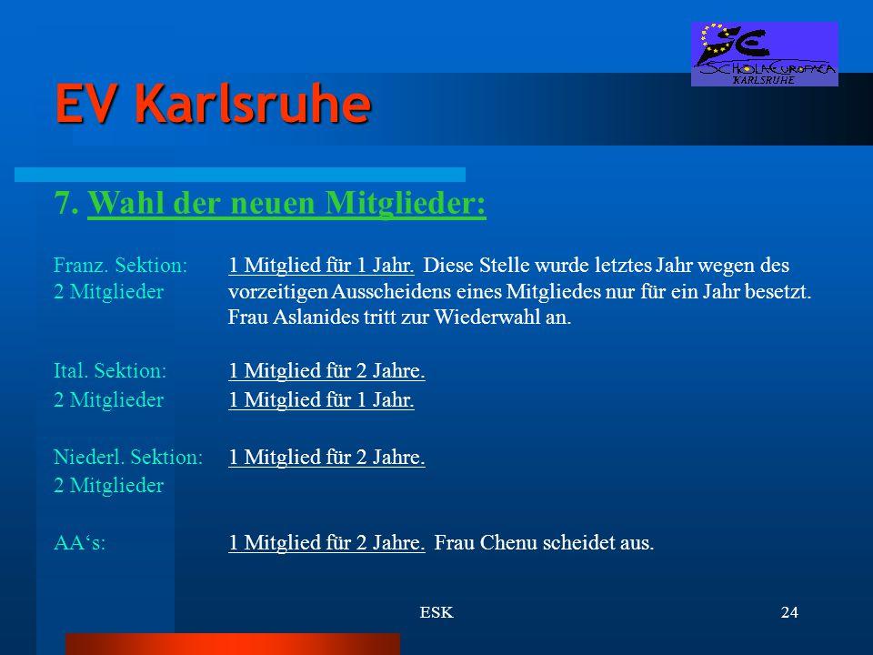 EV Karlsruhe 7. Wahl der neuen Mitglieder: