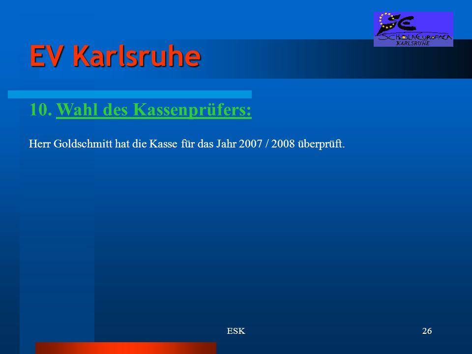 EV Karlsruhe 10. Wahl des Kassenprüfers: