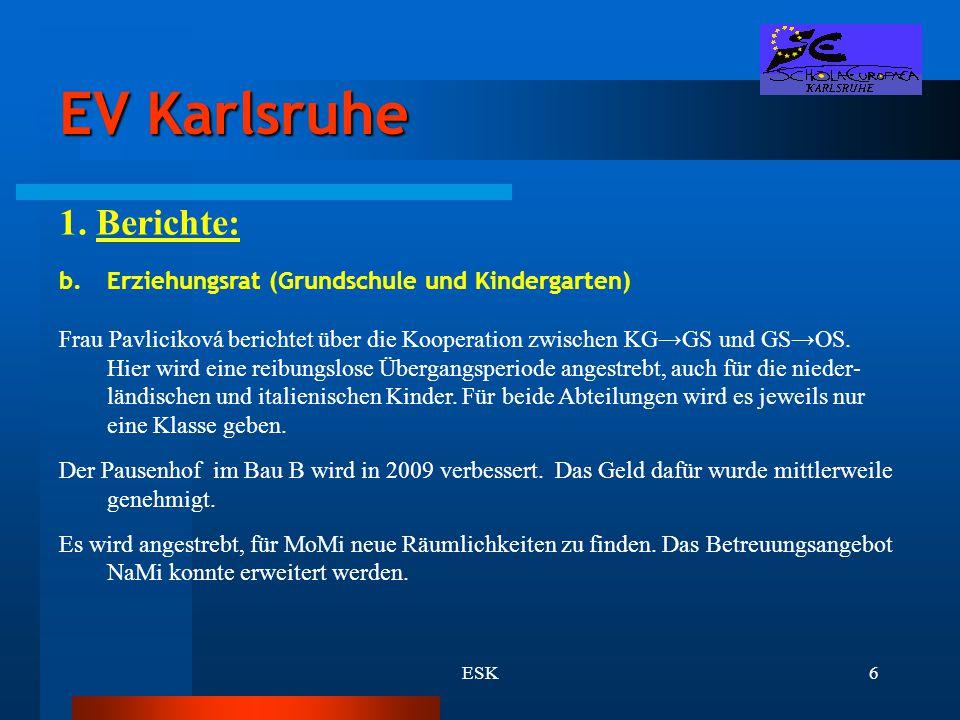 EV Karlsruhe 1. Berichte: Erziehungsrat (Grundschule und Kindergarten)