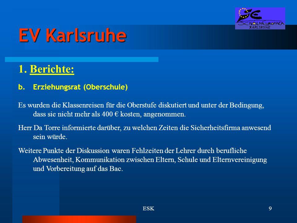 EV Karlsruhe 1. Berichte: Erziehungsrat (Oberschule)