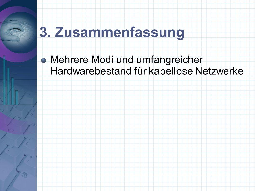 3. Zusammenfassung Mehrere Modi und umfangreicher Hardwarebestand für kabellose Netzwerke