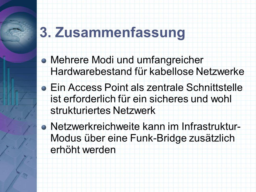 3. Zusammenfassung Mehrere Modi und umfangreicher Hardwarebestand für kabellose Netzwerke.