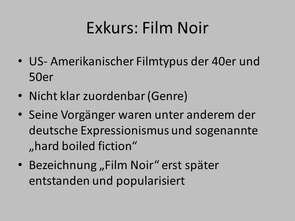 Exkurs: Film Noir US- Amerikanischer Filmtypus der 40er und 50er
