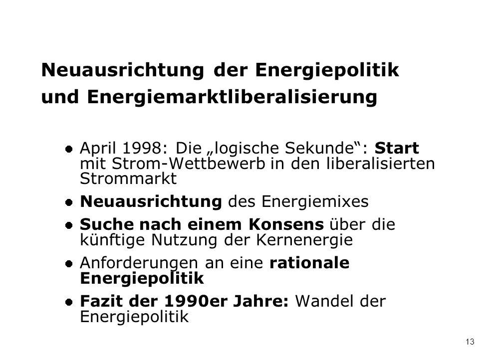 Neuausrichtung der Energiepolitik und Energiemarktliberalisierung