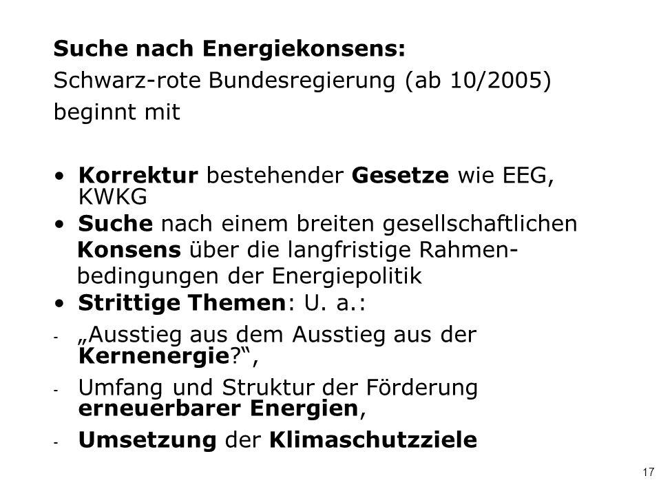 Suche nach Energiekonsens: Schwarz-rote Bundesregierung (ab 10/2005)