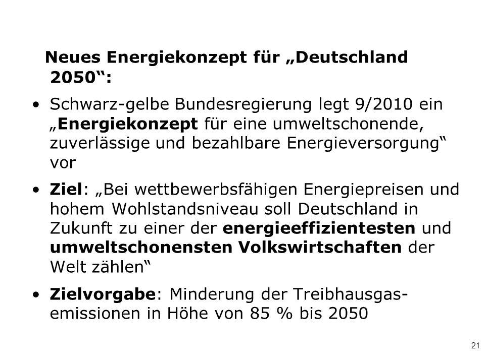 """Neues Energiekonzept für """"Deutschland 2050 :"""