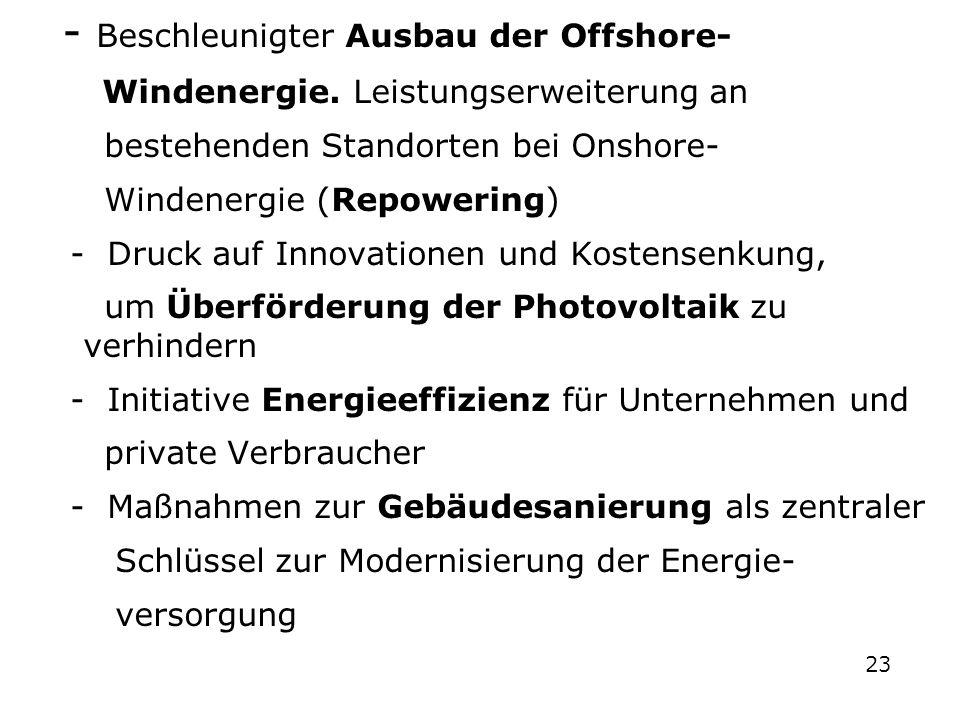 - Beschleunigter Ausbau der Offshore-