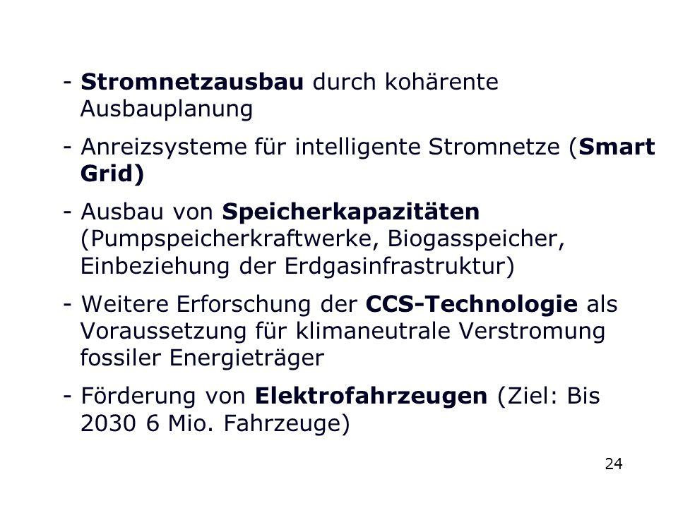 - Stromnetzausbau durch kohärente Ausbauplanung - Anreizsysteme für intelligente Stromnetze (Smart Grid) - Ausbau von Speicherkapazitäten (Pumpspeicherkraftwerke, Biogasspeicher, Einbeziehung der Erdgasinfrastruktur) - Weitere Erforschung der CCS-Technologie als Voraussetzung für klimaneutrale Verstromung fossiler Energieträger - Förderung von Elektrofahrzeugen (Ziel: Bis 2030 6 Mio. Fahrzeuge)
