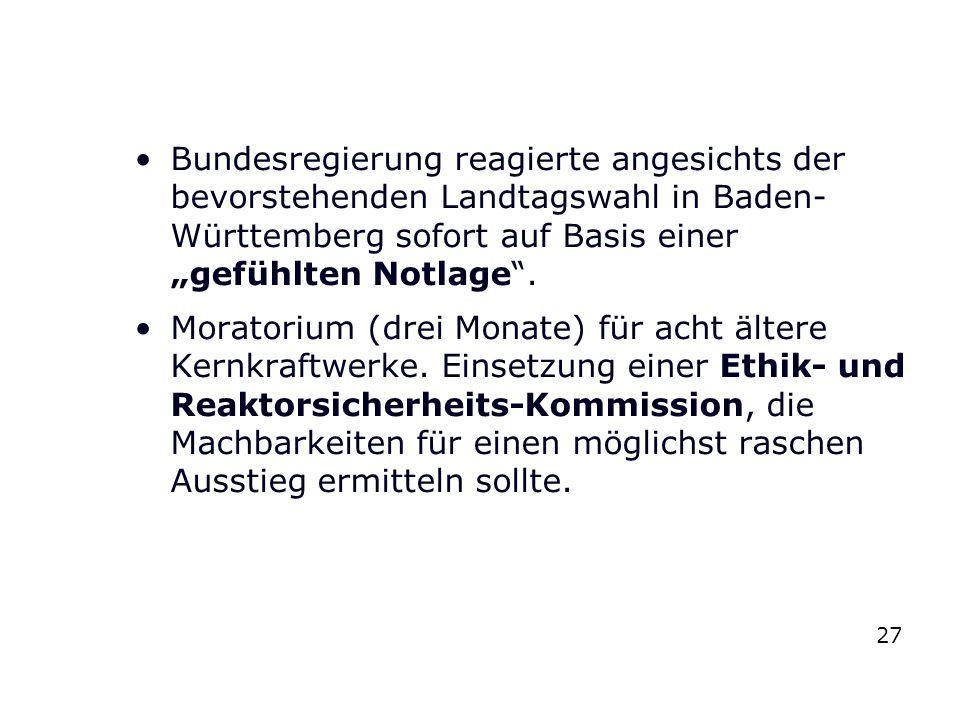 """Bundesregierung reagierte angesichts der bevorstehenden Landtagswahl in Baden-Württemberg sofort auf Basis einer """"gefühlten Notlage ."""