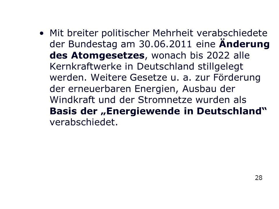 """Mit breiter politischer Mehrheit verabschiedete der Bundestag am 30.06.2011 eine Änderung des Atomgesetzes, wonach bis 2022 alle Kernkraftwerke in Deutschland stillgelegt werden. Weitere Gesetze u. a. zur Förderung der erneuerbaren Energien, Ausbau der Windkraft und der Stromnetze wurden als Basis der """"Energiewende in Deutschland verabschiedet."""