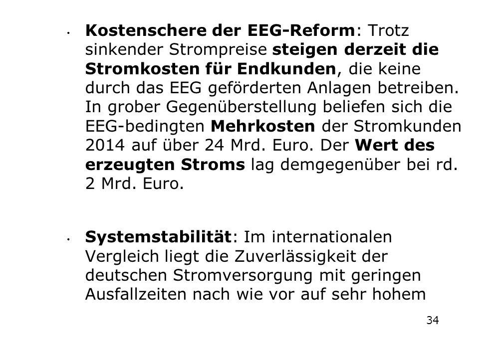 Kostenschere der EEG-Reform: Trotz sinkender Strompreise steigen derzeit die Stromkosten für Endkunden, die keine durch das EEG geförderten Anlagen betreiben. In grober Gegenüberstellung beliefen sich die EEG-bedingten Mehrkosten der Stromkunden 2014 auf über 24 Mrd. Euro. Der Wert des erzeugten Stroms lag demgegenüber bei rd. 2 Mrd. Euro.