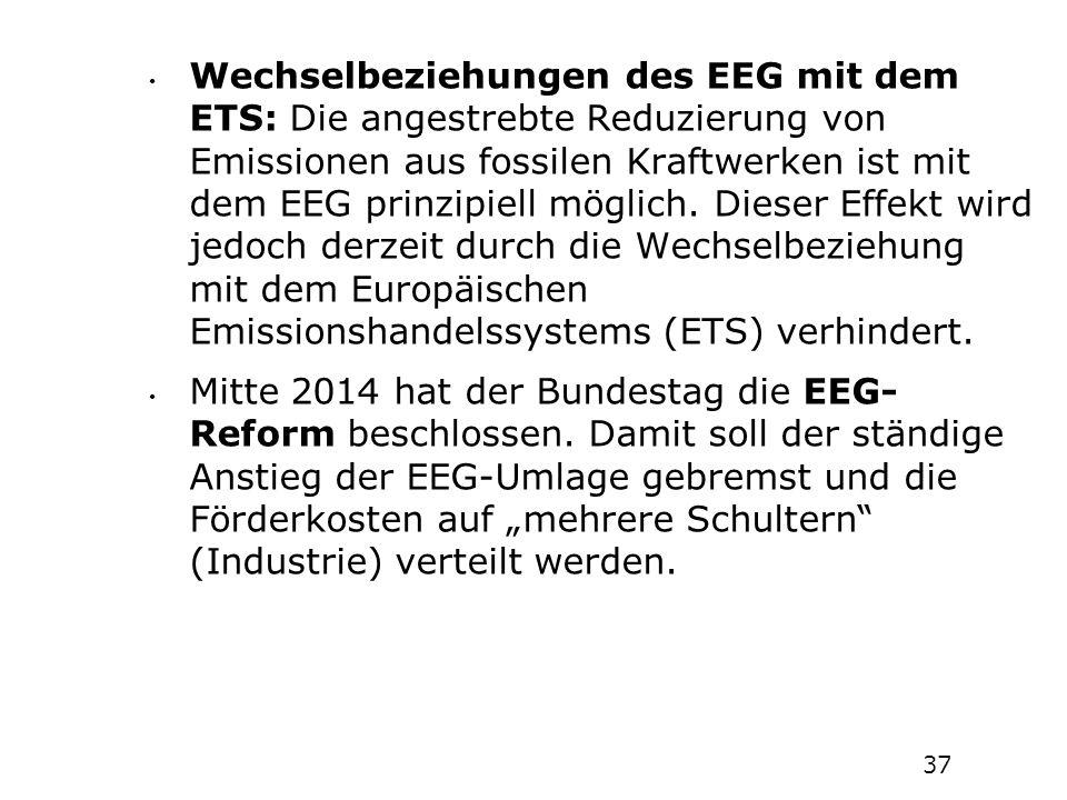 Wechselbeziehungen des EEG mit dem ETS: Die angestrebte Reduzierung von Emissionen aus fossilen Kraftwerken ist mit dem EEG prinzipiell möglich. Dieser Effekt wird jedoch derzeit durch die Wechselbeziehung mit dem Europäischen Emissionshandelssystems (ETS) verhindert.