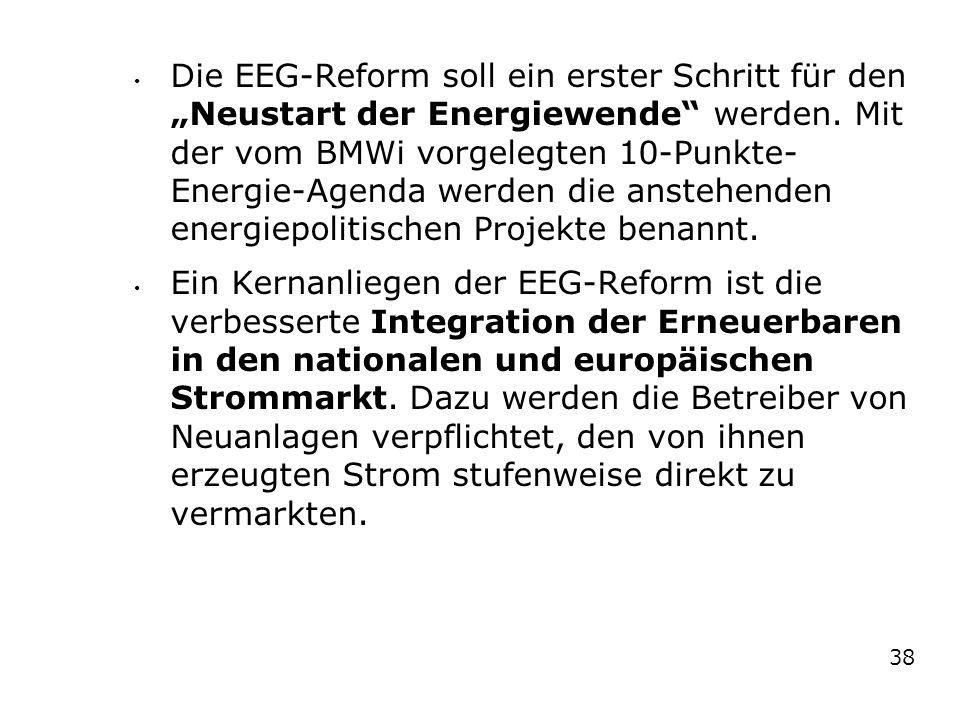 """Die EEG-Reform soll ein erster Schritt für den """"Neustart der Energiewende werden. Mit der vom BMWi vorgelegten 10-Punkte-Energie-Agenda werden die anstehenden energiepolitischen Projekte benannt."""