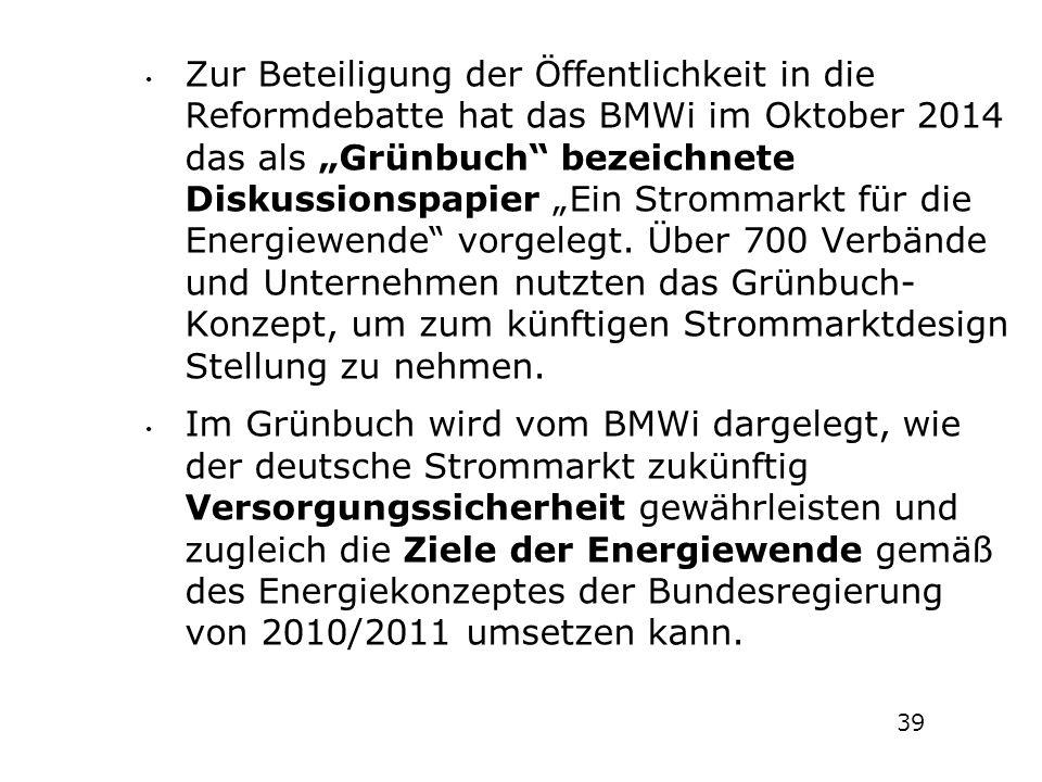 """Zur Beteiligung der Öffentlichkeit in die Reformdebatte hat das BMWi im Oktober 2014 das als """"Grünbuch bezeichnete Diskussionspapier """"Ein Strommarkt für die Energiewende vorgelegt. Über 700 Verbände und Unternehmen nutzten das Grünbuch-Konzept, um zum künftigen Strommarktdesign Stellung zu nehmen."""