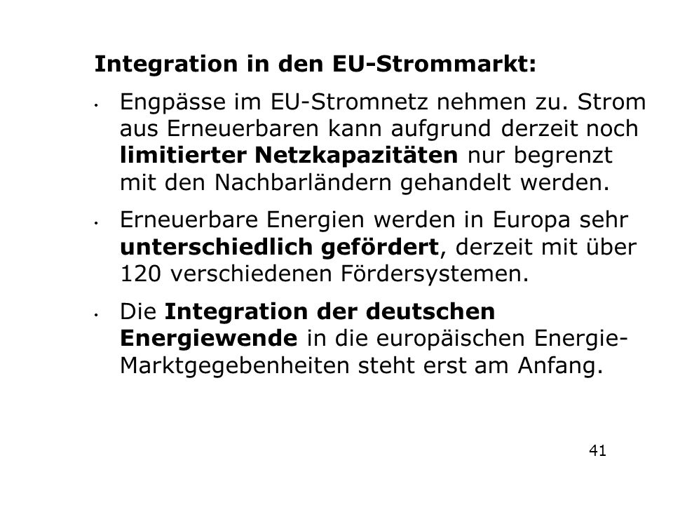 e Integration in den EU-Strommarkt: