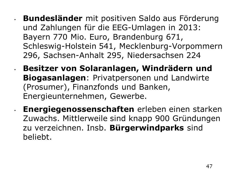 Bundesländer mit positiven Saldo aus Förderung und Zahlungen für die EEG-Umlagen in 2013: Bayern 770 Mio. Euro, Brandenburg 671, Schleswig-Holstein 541, Mecklenburg-Vorpommern 296, Sachsen-Anhalt 295, Niedersachsen 224