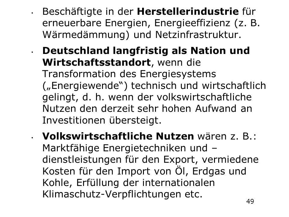 Beschäftigte in der Herstellerindustrie für erneuerbare Energien, Energieeffizienz (z. B. Wärmedämmung) und Netzinfrastruktur.
