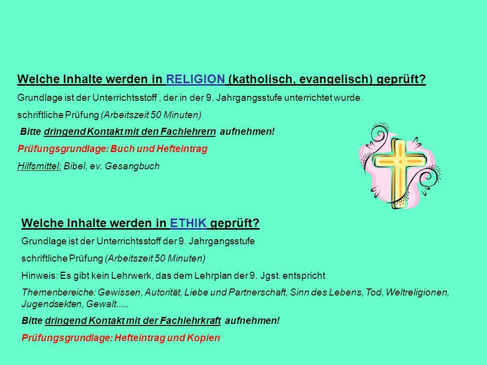 Welche Inhalte werden in RELIGION (katholisch, evangelisch) geprüft
