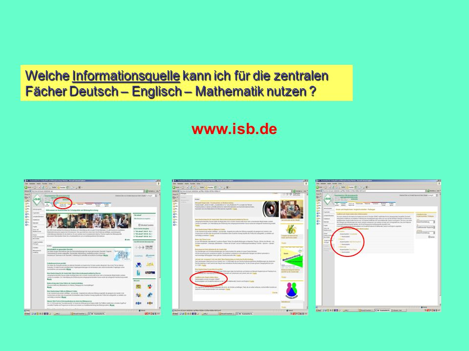 Welche Informationsquelle kann ich für die zentralen Fächer Deutsch – Englisch – Mathematik nutzen
