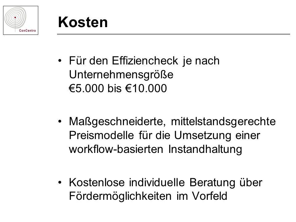 Kosten Für den Effiziencheck je nach Unternehmensgröße €5.000 bis €10.000.