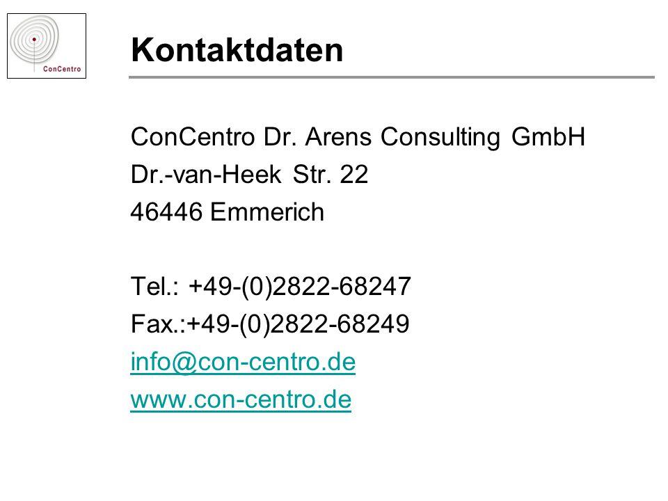 Kontaktdaten ConCentro Dr. Arens Consulting GmbH Dr.-van-Heek Str. 22
